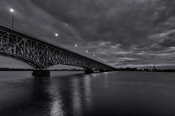 Legions of Marshal Jozef Pilsudski Bridge over Wisla in the night, Plock, Poland